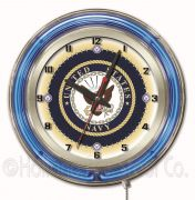 MILITARY Neon Clocks 19 Inch (Military: Navy)