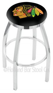 Holland L8C2C Logo Swivel Stool (Holland Available Logos: NHL - Chicago Blackhawks - Black)